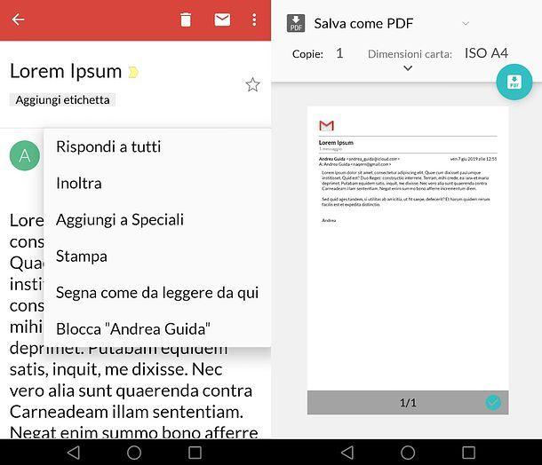 Creazione PDF Gmail