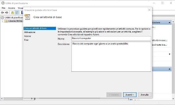 Come riavviare Windows 10 automaticamente