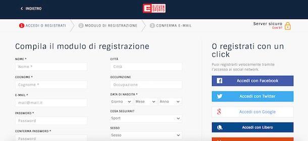 Registrazione Eleven Sports