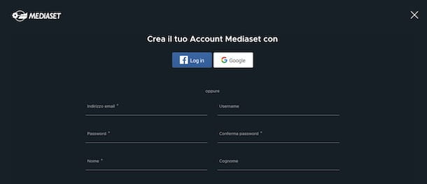 Registrazione Mediaset Play