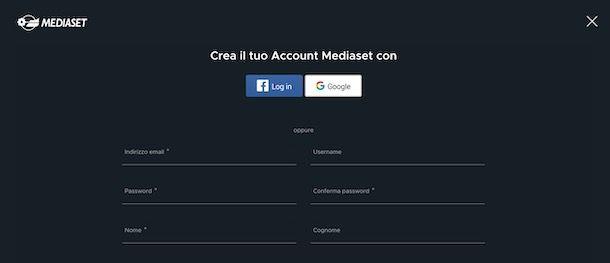 Registrazione Mediaset Play