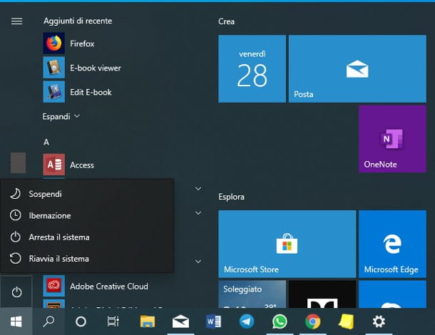 Come riavviare Windows 10 dal menu Start