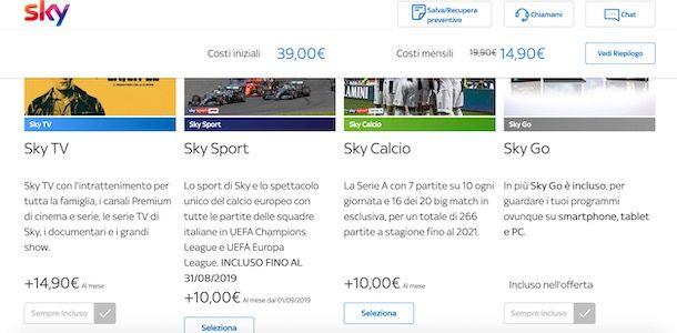 Pacchetto Sky Calcio