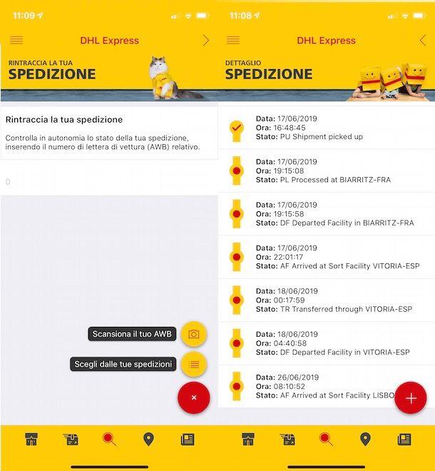 Tracciare spedizione DHL da app