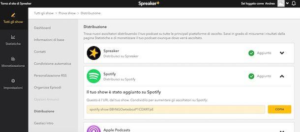 Inviare podcast Spreaker su Spotify