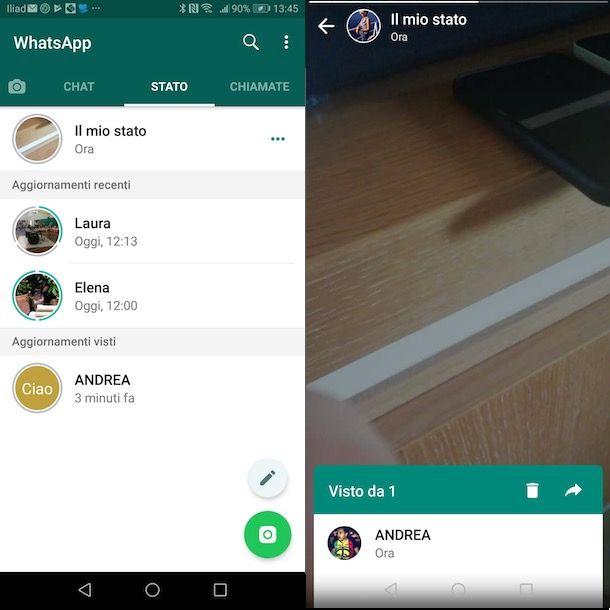 Stato WhatsApp su Android