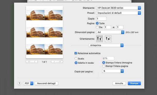 Come stampare più immagini uguali sullo stesso foglio