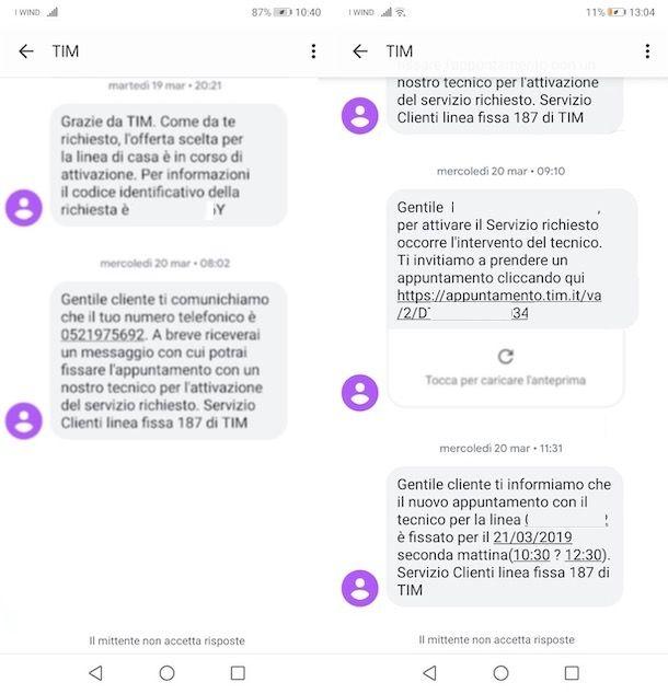SMS per appuntamento tecnico TIM