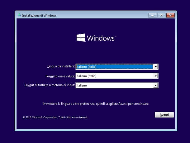 Installare Windows 10 su SSD interno