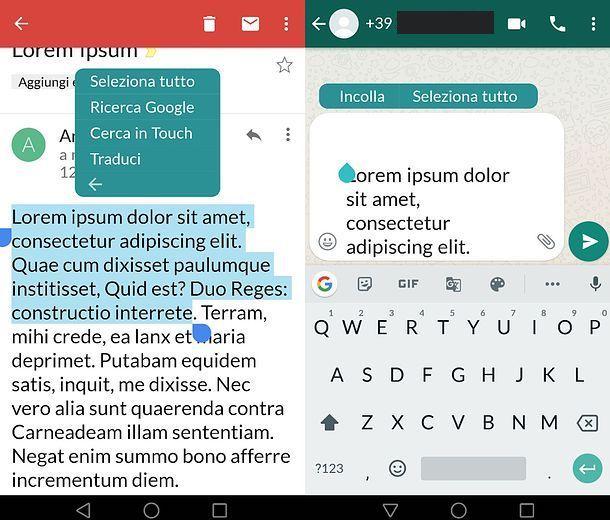 Inoltrare testo mail su WhatsApp per Android