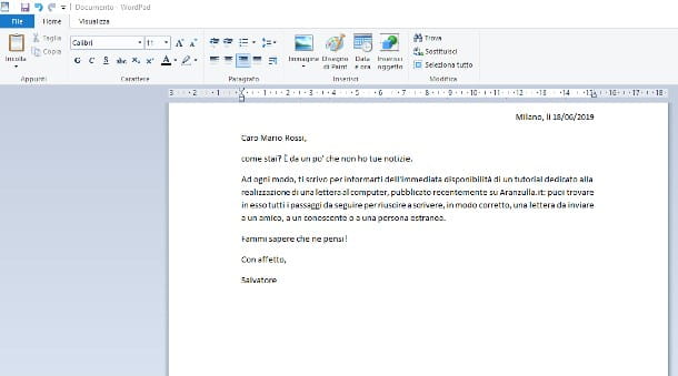 Come scrivere una lettera al computer Windows - WordPad