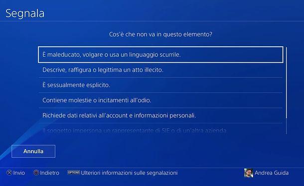 Come segnalare su PS4