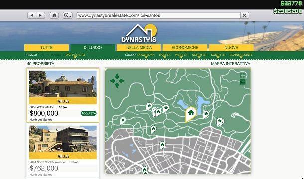 Acquisto casa tramite Dynasty8 in GTA Online