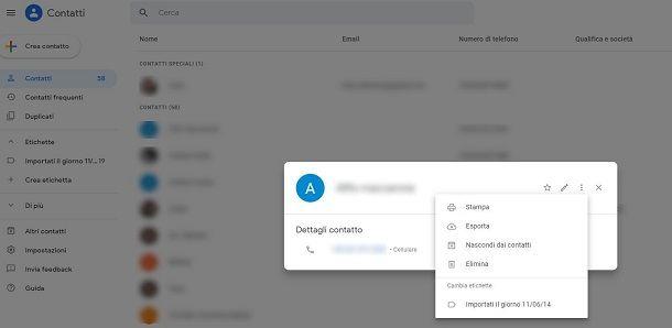 Come eliminare contatto da rubrica Gmail