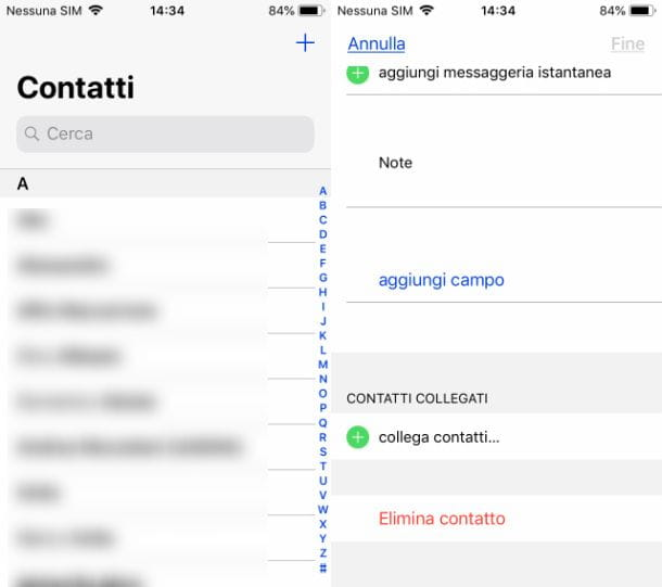 Come eliminare contatto da rubrica iPhone