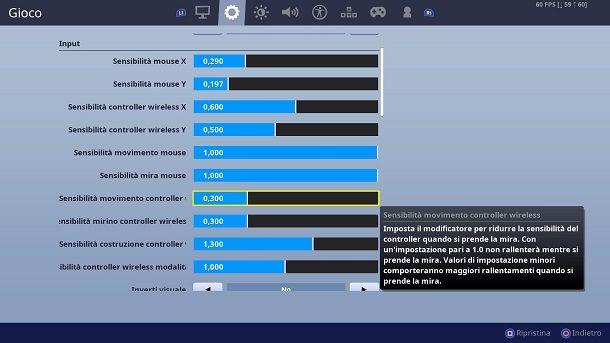 Impostazioni Fortnite PS4