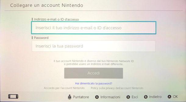 Associazione account Nintendo Switch