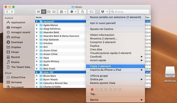 Come trasferire musica da libreria iTunes a chiavetta USB su Mac