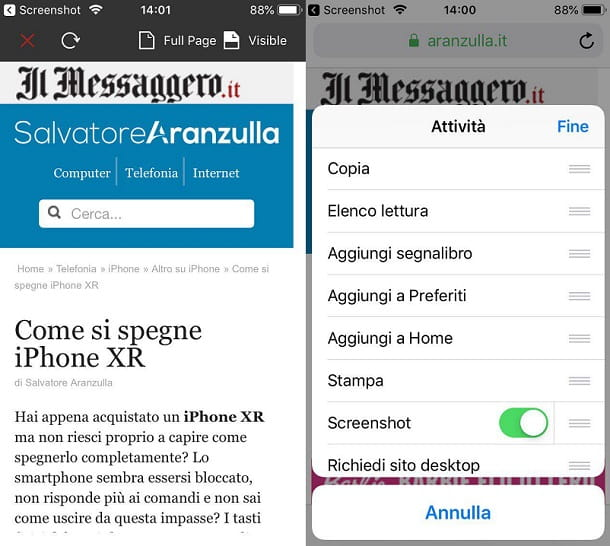 Pagine Web Screenshot iPhone XR