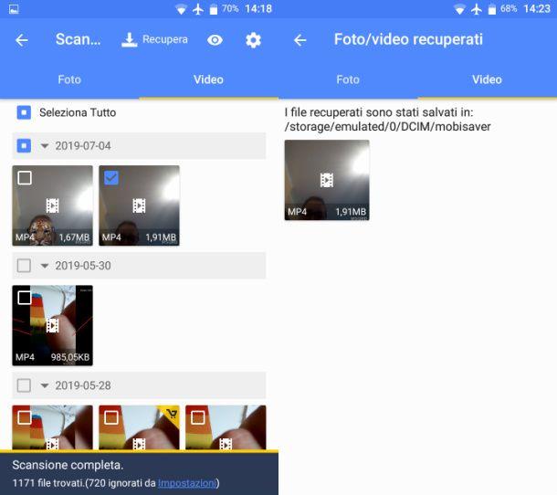 Recuperare video con EaseUS MobiSaver su Android