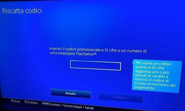 Riscatta codice PS4