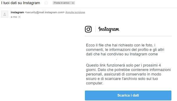 Scaricare dati Instagram