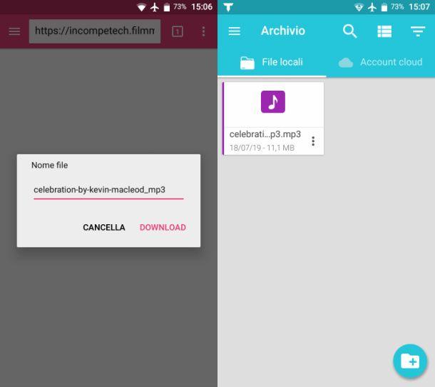 Scaricare musica su Total per Android tramite browser