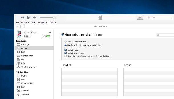 Trasferire musica su iPhone