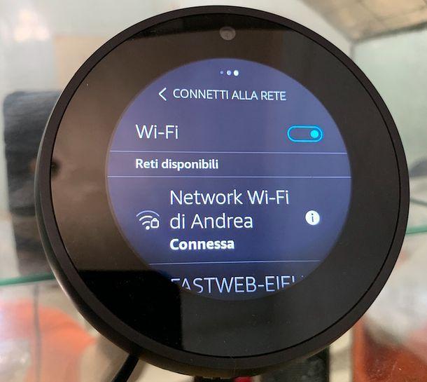 Configurazione Wi-Fi Echo Spot
