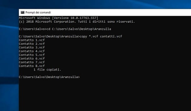 Windows creazione file vCard con Prompt dei comandi