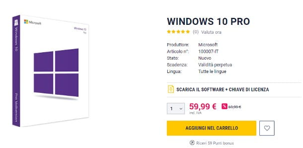 Aggiornare Windows 10 Home a Pro tramite Product Key