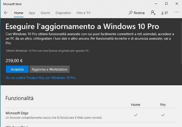 Aggiornare Windows 10 tramite licenza digitale Microsoft