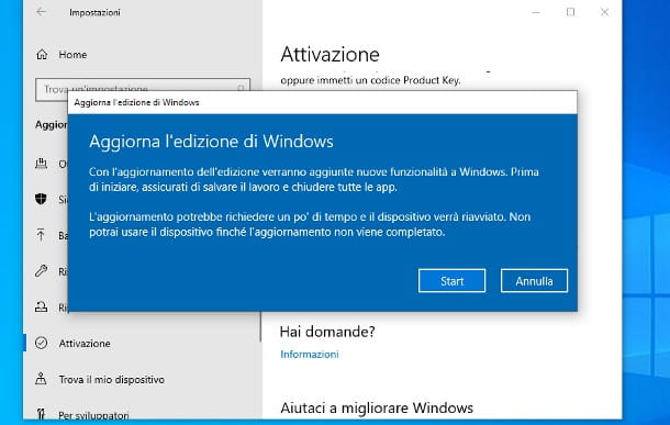 Come passare da Windows 10 Home a Pro