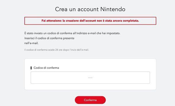 Creazione account Nintendo