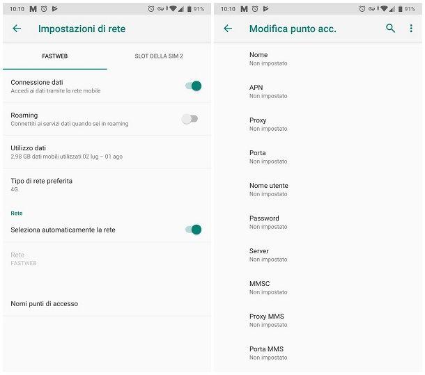 Impostazioni per attivare i dati mobili sul telefono Android