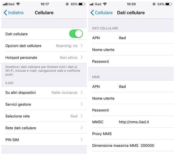 Impostazioni per attivare i dati mobili sul telefono