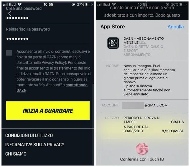 Come vedere DAZN gratis su iPhone