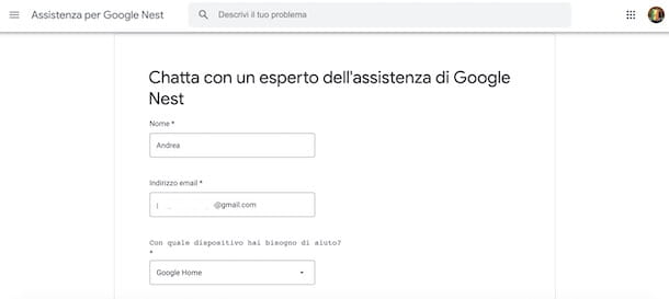 Contattare assistenza Google Home