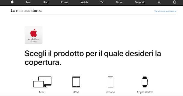 Attivazione AppleCare online