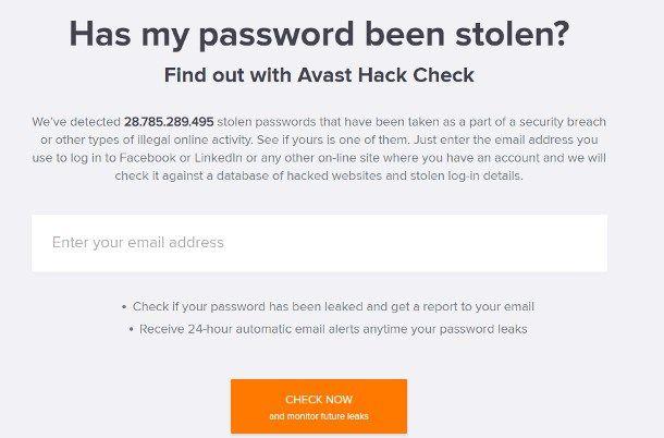Siti per sapere se un'email è stata hackerata - Avast
