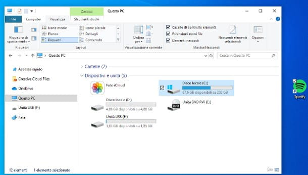 Come togliere spunta dalle icone del desktop di Windows 10