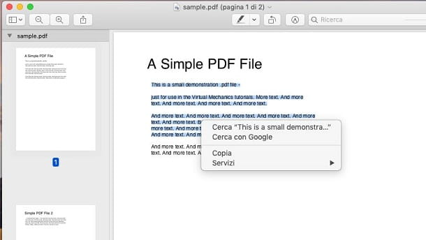 copiare testo da un PDF con Anteprima di macOS