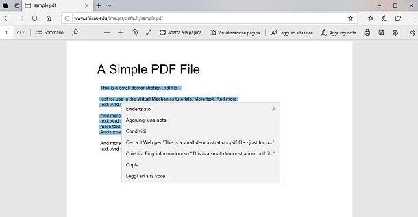 copiare testo da un PDF con Edge
