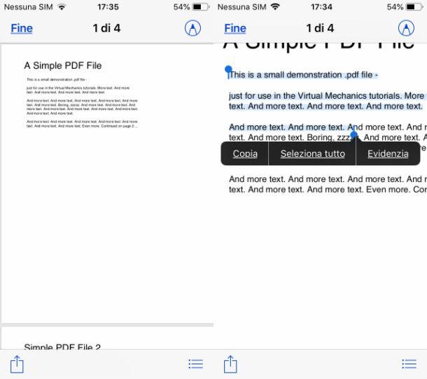 copiare testo da un PDF con File di iOS