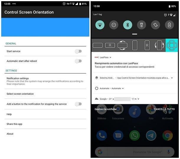 App per ruotare lo schermo del cellulare Android
