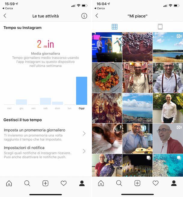 Attività Instagram personali su iOS