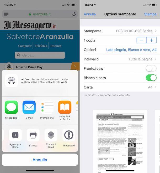 Screenshot che mostra come stampare in bianco e nero con Epson da iOS