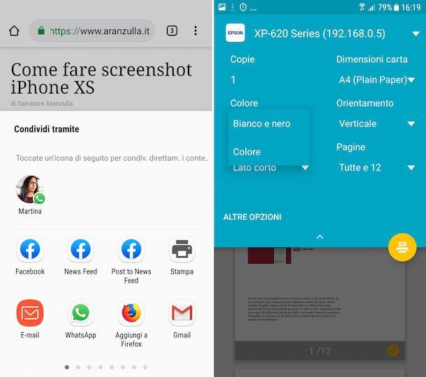 Screenshot che mostra come stampare in bianco e nero con Epson da Android