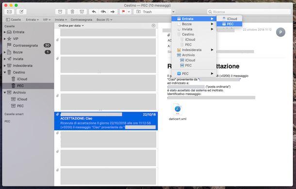 Cestino PEC email Mac