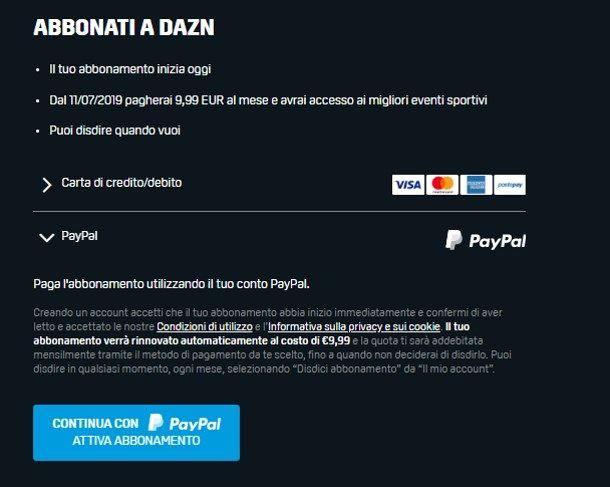 Come pagare DAZN con PayPal